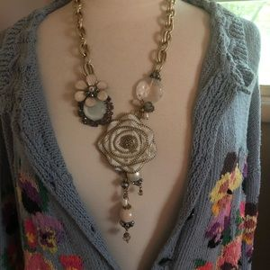 Statement Chunky Mixed Media OOAK Necklace Floral